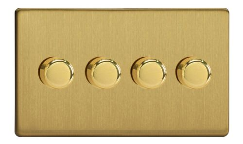 Varilight JDBDP254S Screwless Brushed Brass 4 Gang 2-Way Push-On/Off LED Dimmer 0-120W V-Pro